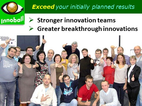 Innoball Bebefits: stronger innovation team and project success, Vadim Kotelnikov Innovation Brainball simulation game training