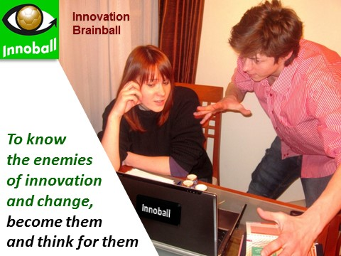 Innovation enemies become and think, Innoball, Innovation Brainball game, Vadim Kotelnikov Dennis