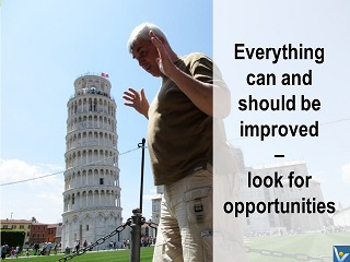 Kaizen jokes, Vadim Kotelnikov humorous photograms, Pisa tower should be improved