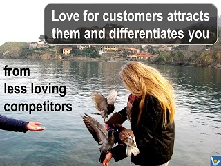 Love for customers differentiates from competitors, Vadim Kotelnikov quotes, Irina, pigeons