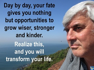 Fate gives nothing but opportunities to grow wiser, stronger and kinder.Vadim Kotelnikov quotes