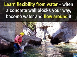 Learn flexibility from water - flow around obstacles. Vadim Kotelnikov quotes