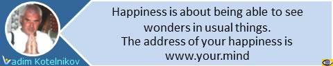 Happiness is about being able to see wonders in usual things. The address of your happiness is www.your.mind. Vadim Kotelnikov quotes